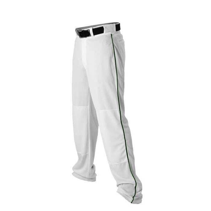 Alleson 14oz baseball pant with piping trim white forest green