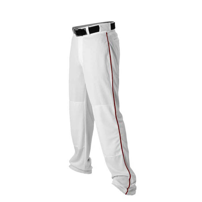 Alleson 14oz baseball pant with piping trim white maroon