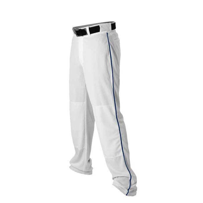 Alleson 14oz baseball pant with piping trim white navy
