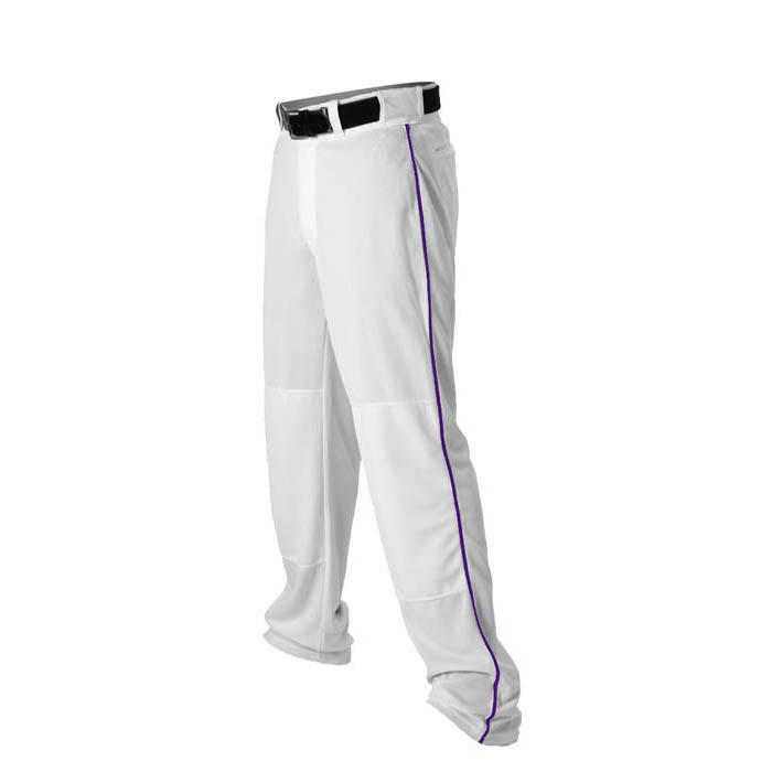 Alleson 14oz baseball pant with piping trim white purple