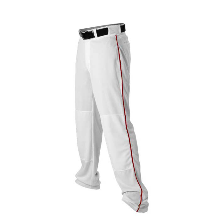 Alleson 14oz baseball pant with piping trim white red
