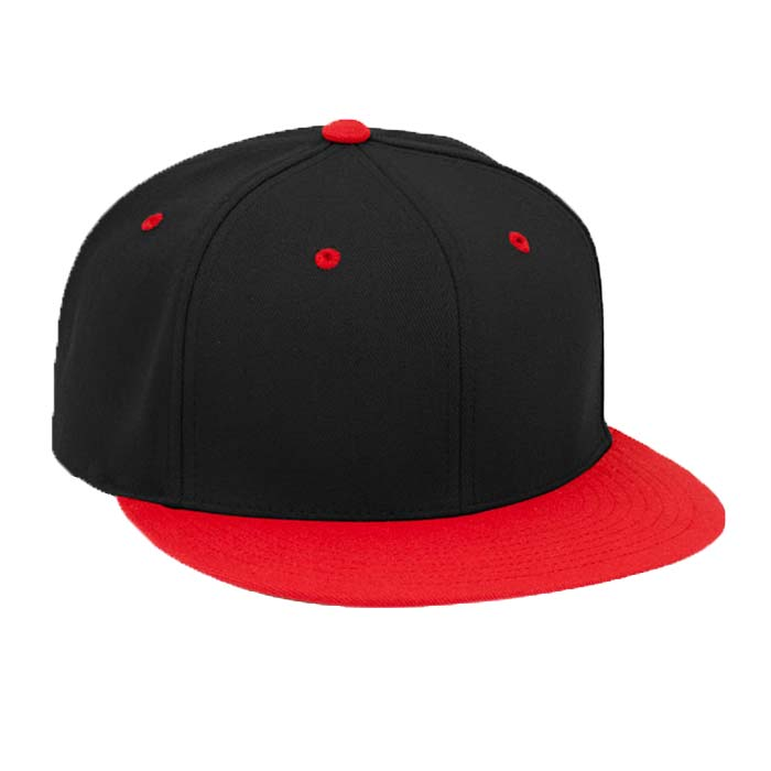 Solid Color, Flat Brim Baseball Cap in Black and Red