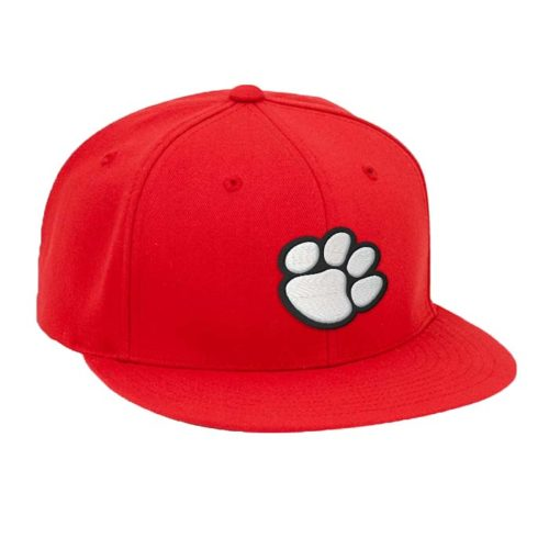 Solid Color, Flat Brim Baseball Cap in Red