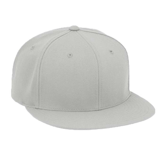 Solid Color, Flat Brim Baseball Cap in Silver
