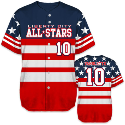 bbb82c2eb6 ... Custom Sublimated Charged United We Stand Baseball Jersey All-Stars