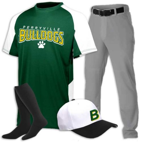 Cutter Baseball Uniform with Jersey, Pants, Belt, Socks and Embroidered Cap