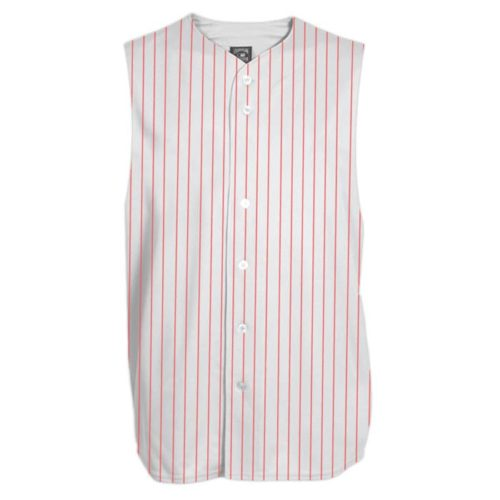 Sleeveless full-button jersey white red pin stripe