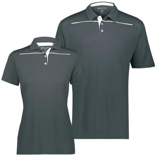Defer Polo Shirt in Graphite and White