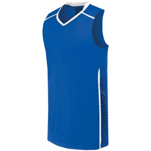 High 5 adult and youth basketball jersey in royal white black