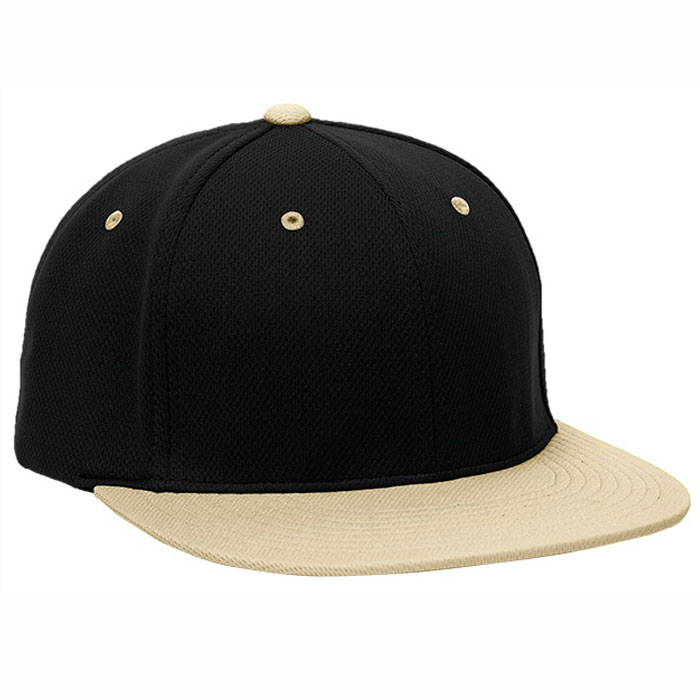Pacific Headwear ES342 Premium P-Tec Cap in Black and Vegas Gold