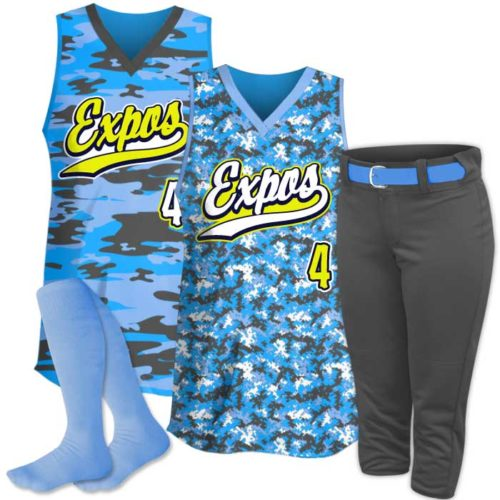 Custom Sublimated Camo Softball Tank Uniform Package