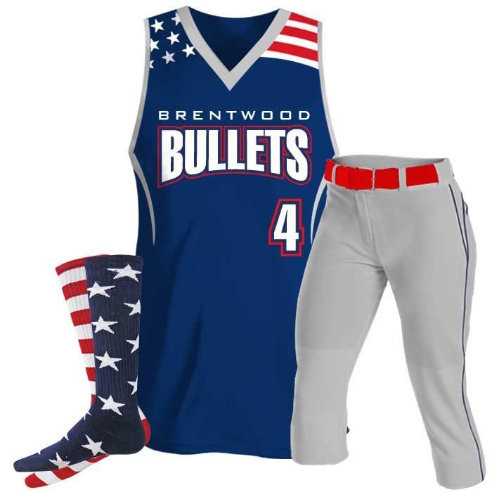 Custom Sublimated Patriotic Softball Tank Uniform Package