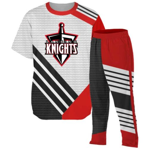 Custom Basketball Elite Super Arrow Warmup including shooting shirt and tearaway pants.