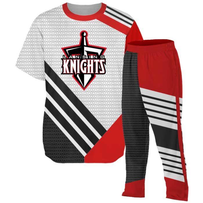Custom Basketball Elite Super Arrow Warmup including shooting shirt and tearaway pants.