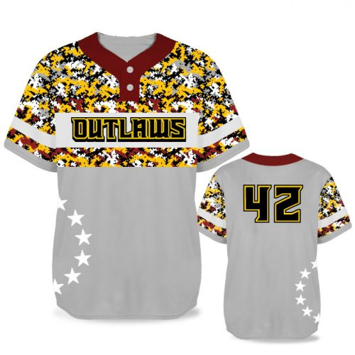 Custom Sublimated Elite American Soldier BB Jersey SS 2-Button