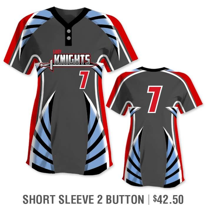 Elite Bash Boost Deluxe Custom Sublimated Short Sleeve 2-Button Softball Jersey