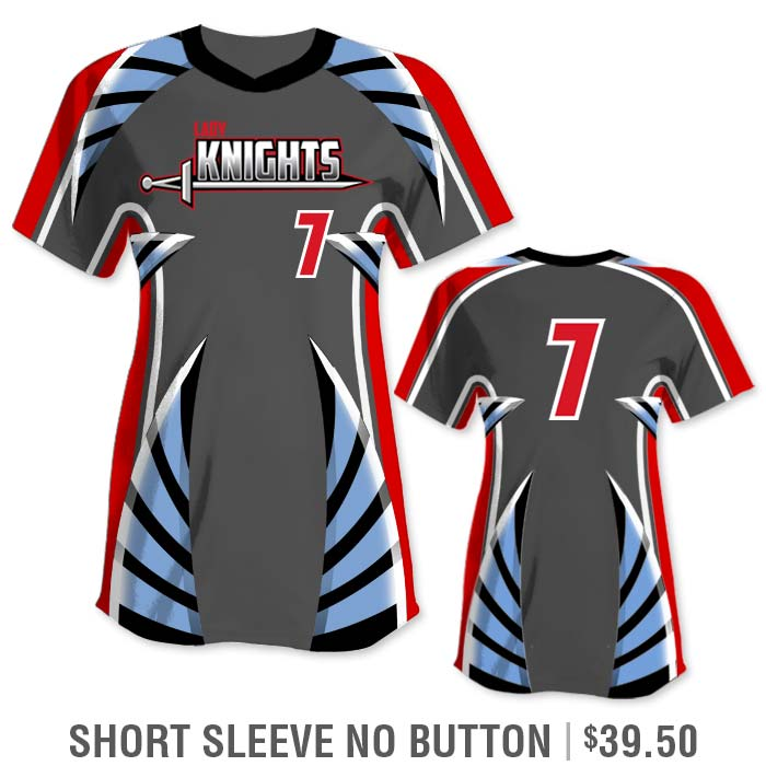 Elite Bash Boost Deluxe Custom Sublimated Short Sleeve No-Button Crew Softball Jersey