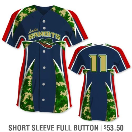 Elite Bash Digi Camo Custom Sublimated Short Sleeve No-Button Pullover Softball Jersey Uniform Builder