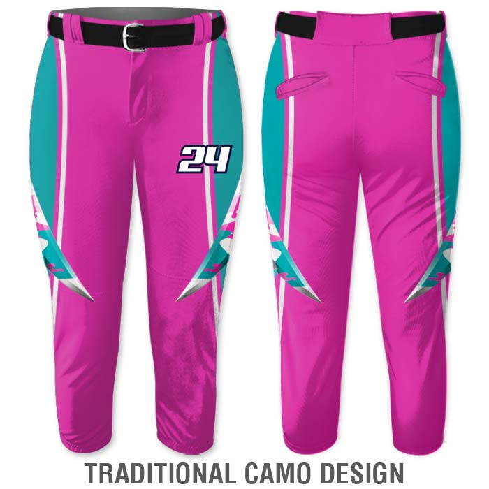 Elite Bash Fastpitch Pants, Custom Sublimated Traditional Camo Design, Camouflage