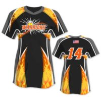 Elite Bash Flames Custom Sublimated Short Sleeve No-Button Pullover Softball Jersey Uniform Builder