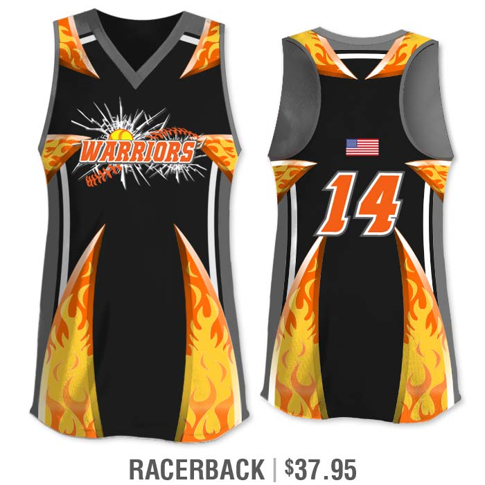 Elite Bash Flames Custom Sublimated Racerback Softball Jersey Uniform Builder