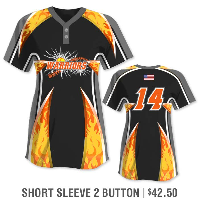 Elite Bash Flames Custom Sublimated Short Sleeve 2-Button Softball Jersey Uniform Builder
