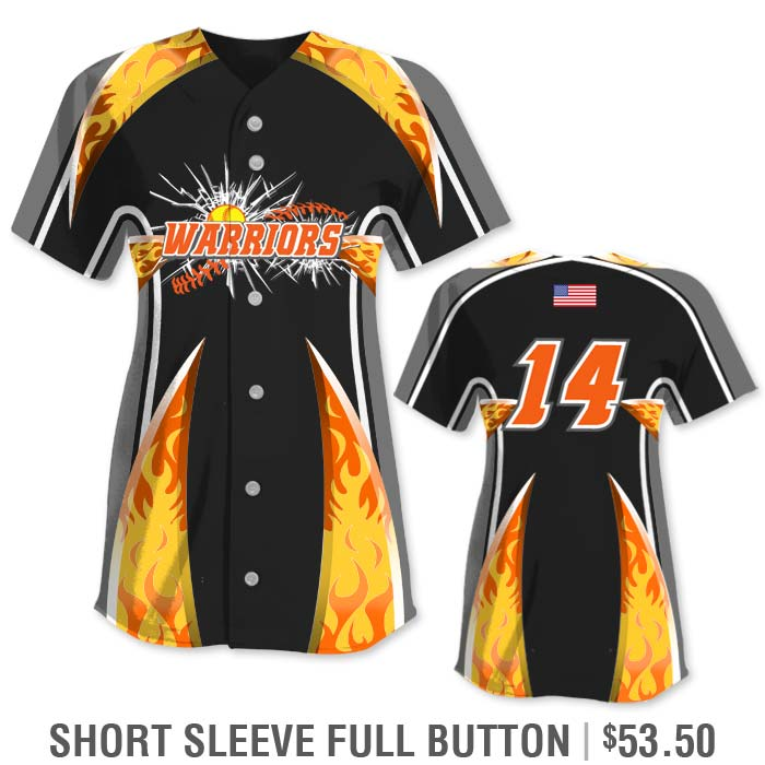 Elite Bash Flames Custom Sublimated Short Sleeve Full-Button Softball Jersey Uniform Builder