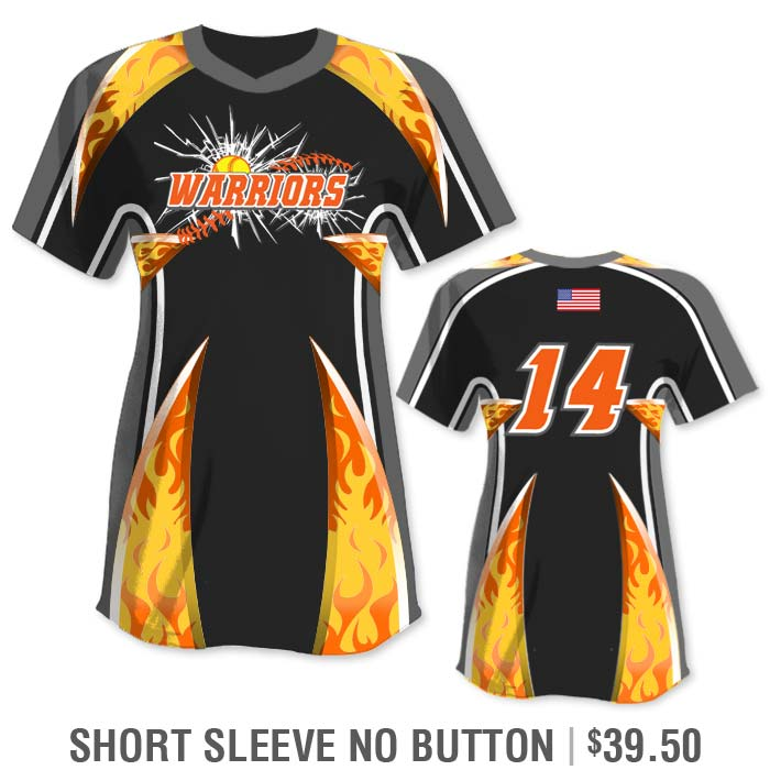 Elite Bash Flames Custom Sublimated Short Sleeve No-Button Pullover Crew Softball Jersey Uniform Builder