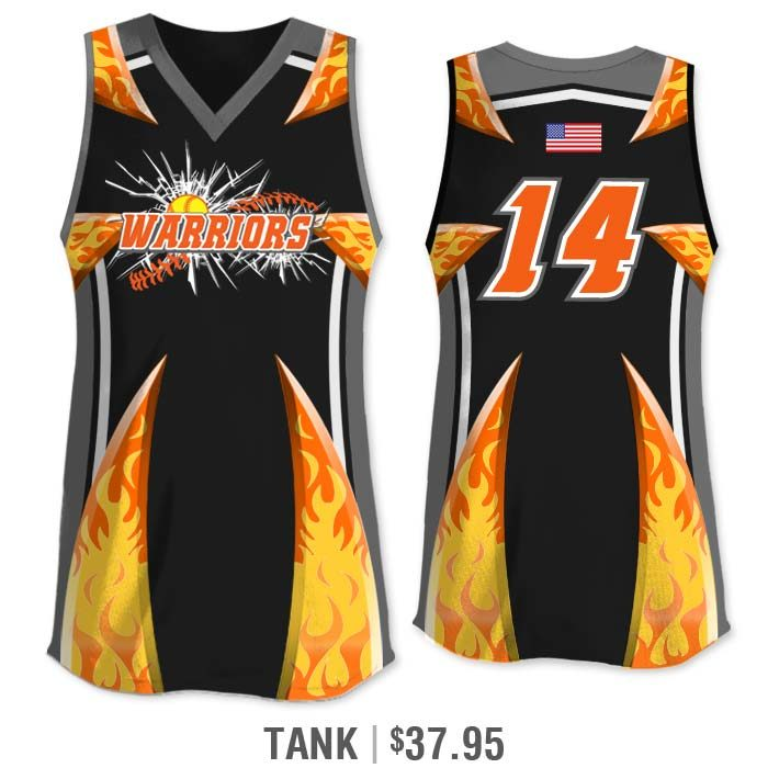 Elite Bash Flames Custom Sublimated Tank Softball Jersey Uniform Builder