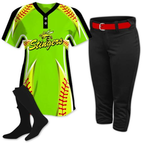 This is the Elite Bash 2 softball uniform package featuring custom sublimated jersey made by Team Sports Planet.