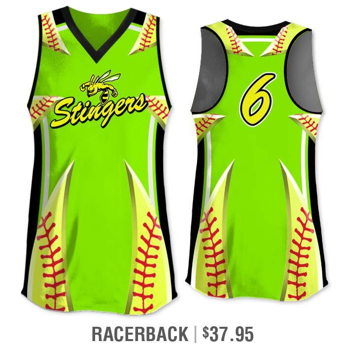 Elite Bash Stitches 2 Custom Sublimated Short Racerback Softball Jersey