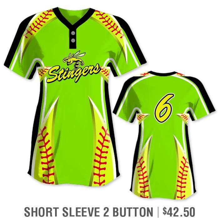 Elite Bash Stitches 2 Custom Sublimated Short Sleeve 2-Button Softball Jersey
