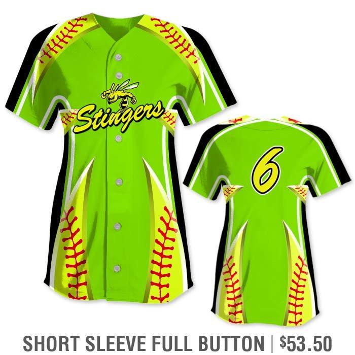 Elite Bash Stitches 2 Custom Sublimated Short Sleeve Full-Button Softball Jersey