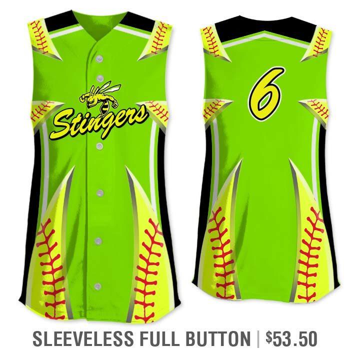 Elite Bash Stitches 2 Custom Sublimated Sleeveless Full-Button Softball Jersey