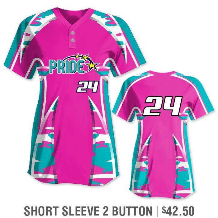 Elite Bash Traditional Camo Custom Sublimated Softball Uniform Short Sleeve 2-Button Jersey