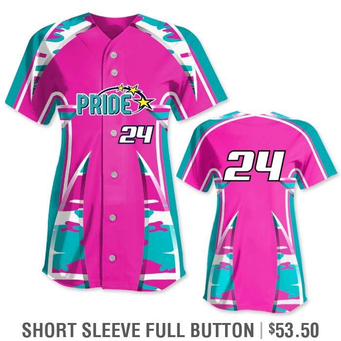 Elite Bash Traditional Camo Custom Sublimated Softball Uniform Short Sleeve Full-Button Jersey