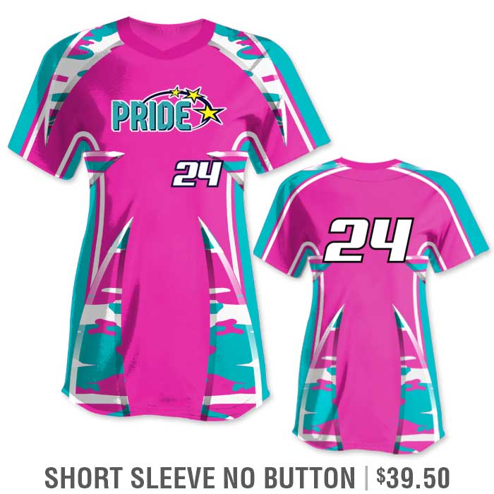 Elite Bash Traditional Camo Custom Sublimated Softball Uniform Short Sleeve Pullover Jersey