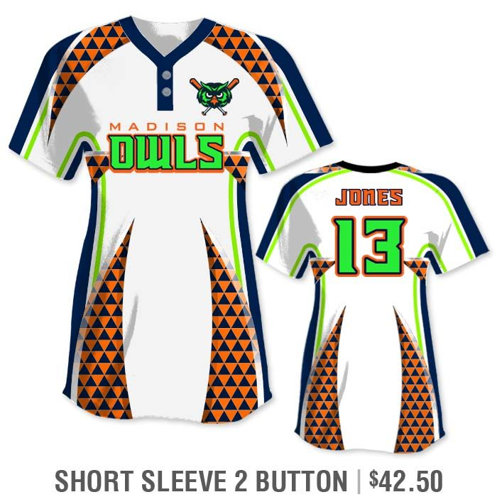 Elite Bash Trilogy Custom Sublimated Short Sleeve 2-Button Softball Jersey Uniform Builder