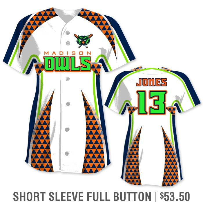 Elite Bash Trilogy Custom Sublimated Short Sleeve Full-Button Softball Jersey Uniform Builder