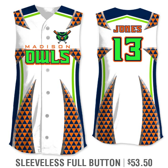 Elite Bash Trilogy Custom Sublimated Sleeveless Full-Button Softball Jersey Uniform Builder