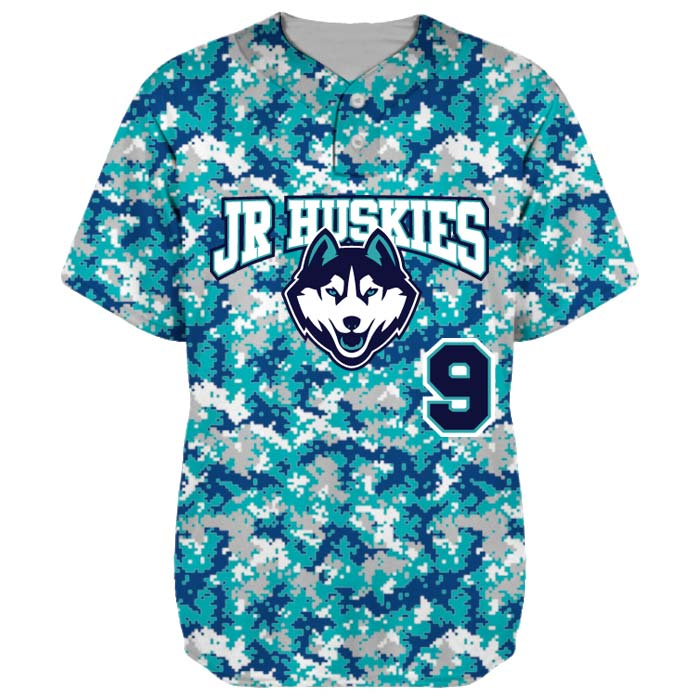 This is the Elite Camo baseball jersey, completely custom sublimated, made by Team Sports Planet.