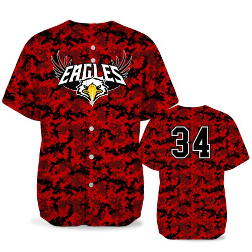 Custom Sublimated Elite Camo Digital BB Jersey SS Full-Button