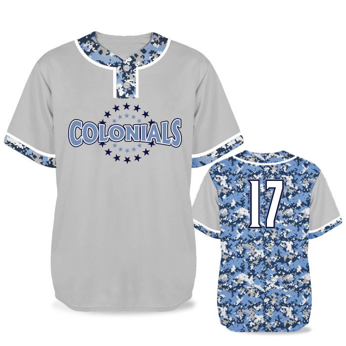 Custom Sublimated Elite Camo Lot 2 Digital BB Jersey SS 2-Button