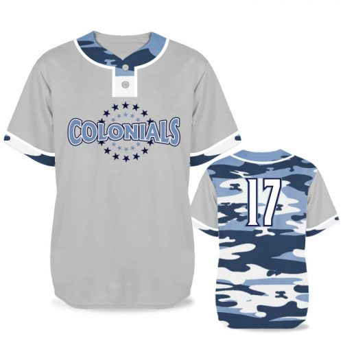 Custom Sublimated Elite Camo Lot 2 Traditional BB Jersey SS 2-Button