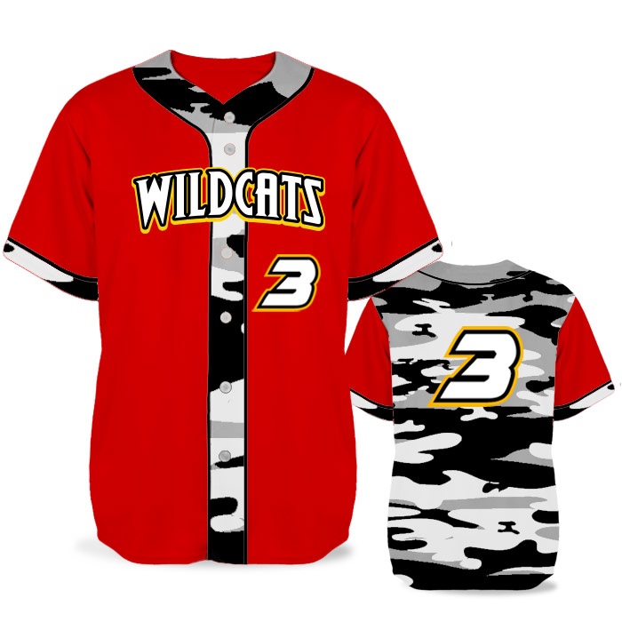 Custom Sublimated Elite Camo Lot 2 Traditional BB Jersey SS Full-Button