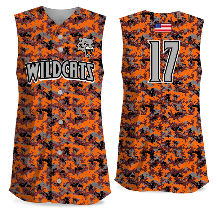 Custom Sublimated Elite Camo Rama Digi Camo FP Jersey SL Full-Button
