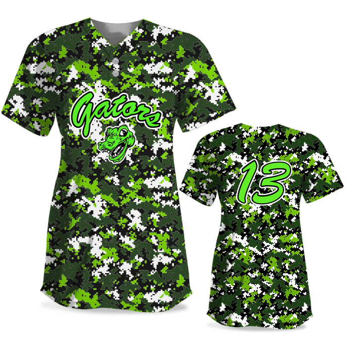 Custom Sublimated Elite Camo Rama Digi Camo FP Jersey SS 2-Button