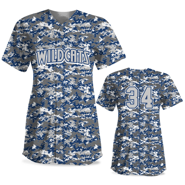Custom Sublimated Elite Camo Rama Digi Camo FP Jersey SS Full-Button