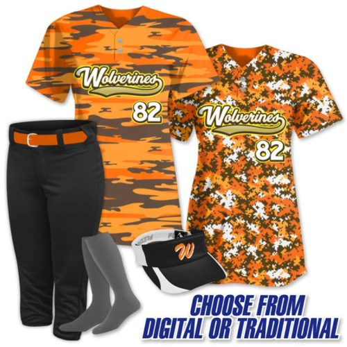 This is the Elite Camo Rama softball uniform package featuring a camo softball jersey, a completely custom sublimated style made by Team Sports Planet.