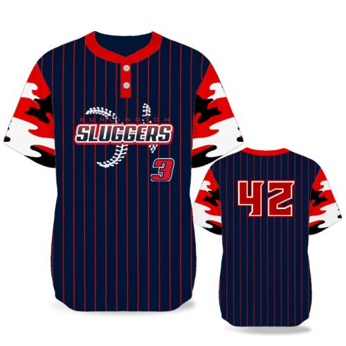 Custom Sublimated Elite Camo Rilla Traditional BB Jersey SS 2-Button